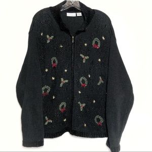 Christmas Holiday sweater not ugly cardigan zip L